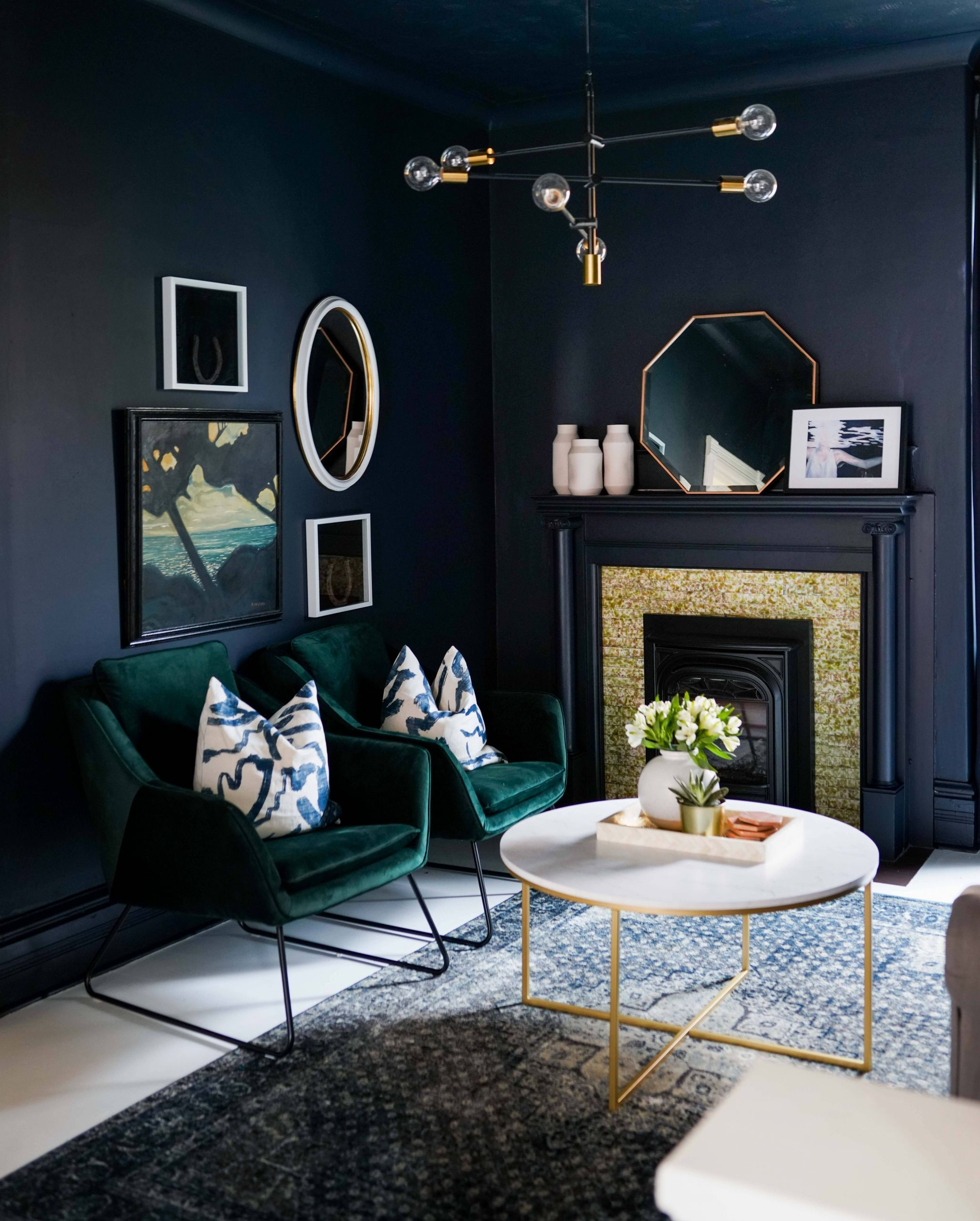 Art Deco Interior Design Luxury Green Velvet Chairs and Dark Blue Moody Walls E Room