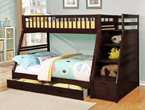 Bed with Drawers New Twin Over Full Standard Bunk Bed with Drawer and Storage