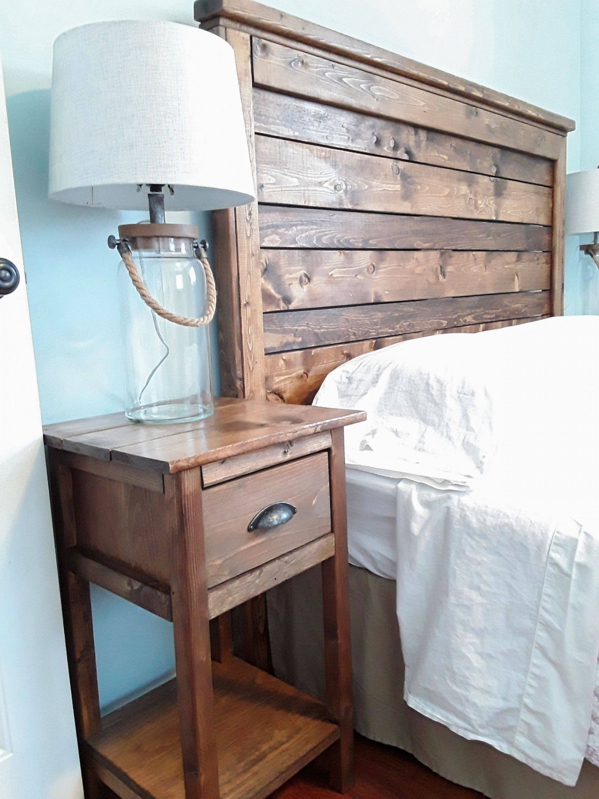 Bedside Table Ideas Beautiful Diy Rustic Wood Headboard and Nightstand