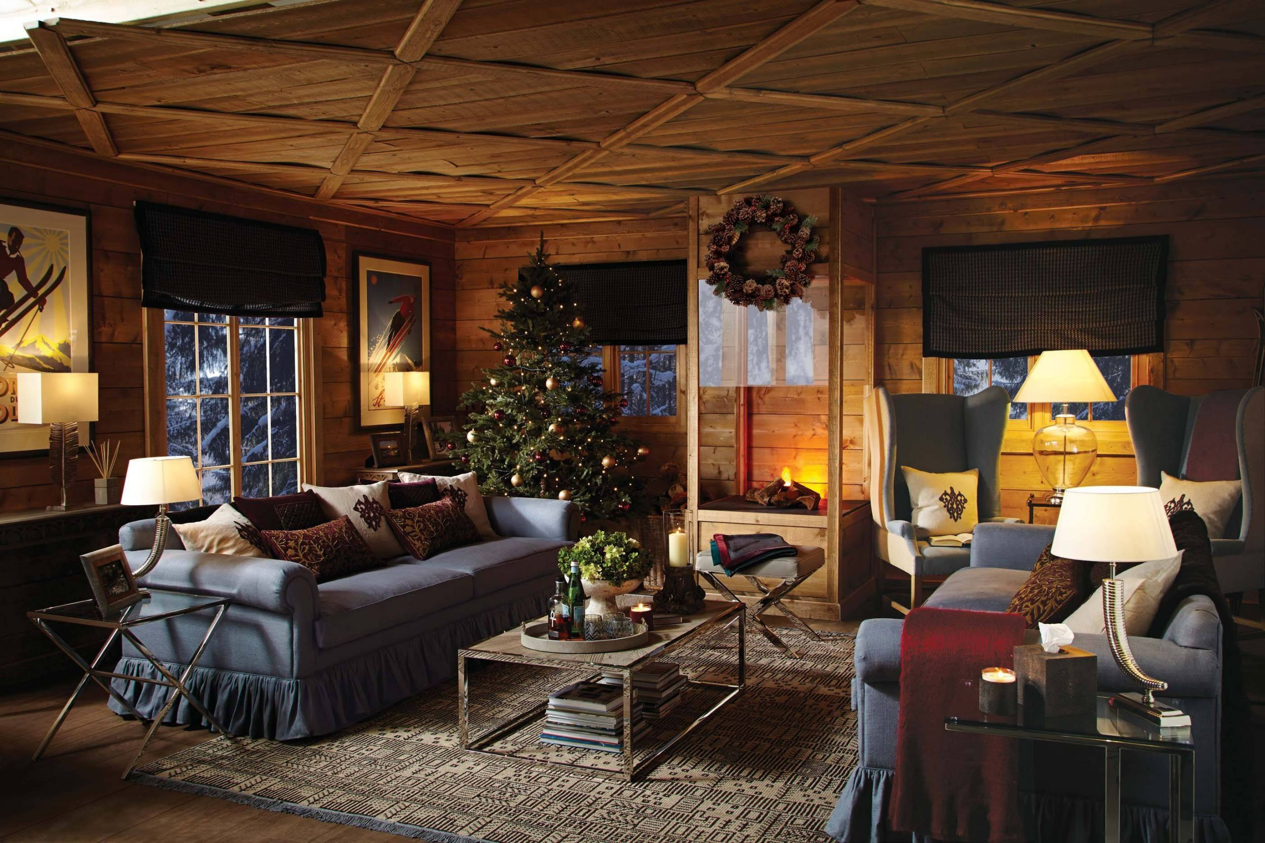 Cabin Decor New Log Cabin at Christmas Uplighting and soft Furnishings