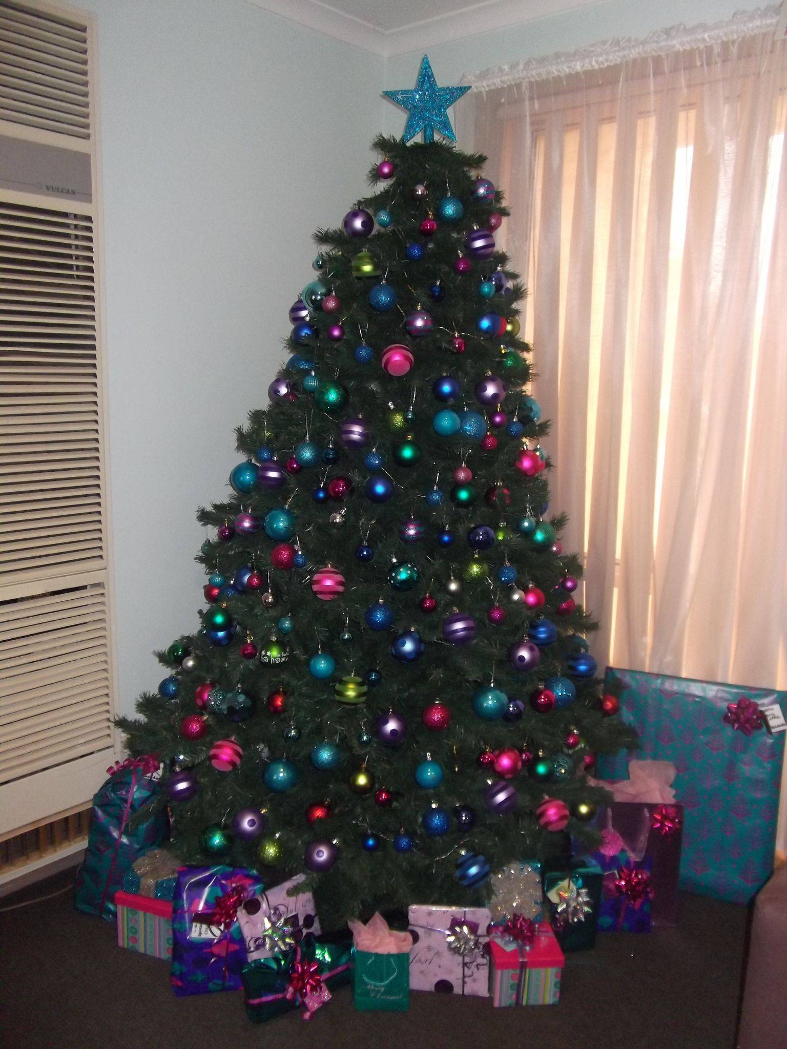 Christmas Decorating themes Best Of Christmas 2011 Multi Coloured theme Pink Blue Purple Green