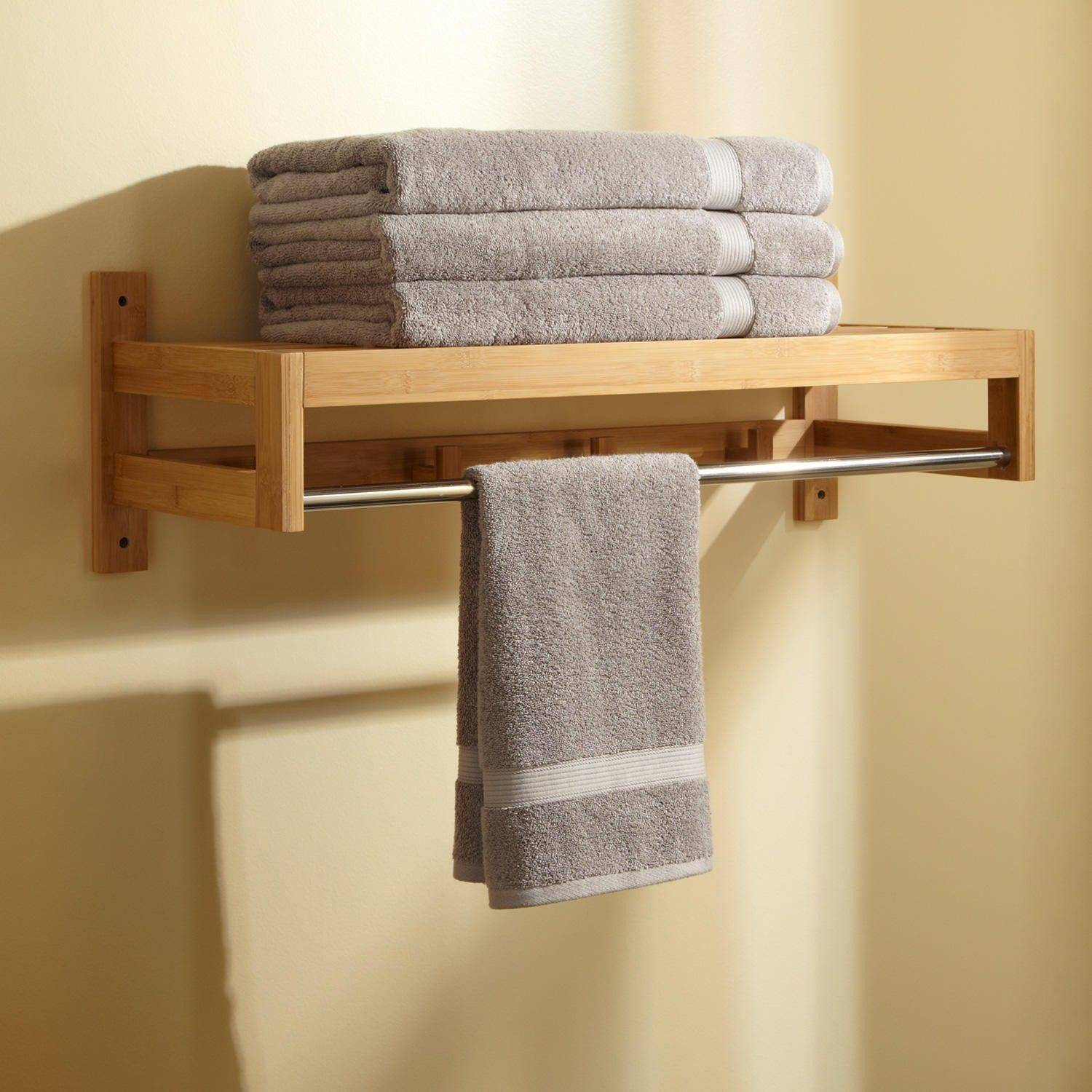 Creative towel Racks New Pathein Bamboo towel Rack with Hooks Love This It Has the