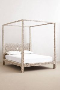 Four Poster Bed Canopy Unique Bone Inlay Seven Drawer Dresser