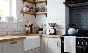L Shaped Kitchen Cabinets Inspirational Wondrous L Shaped Kitchen with Hardwood Counter top as Well