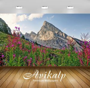 Living In the Mountains Unique Avikalp Exclusive Awi5928 Pink Wild Flowers Rising From the