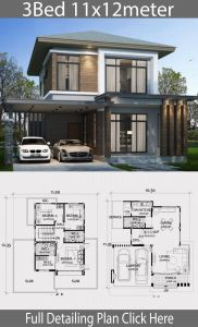Minimalist Houses Awesome Home Design Plan 11x12m with 3 Bedrooms