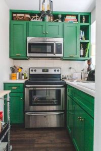 Painted Cabinets Unique Very Small Kitchen with Green Painted Cabinets and Stainless