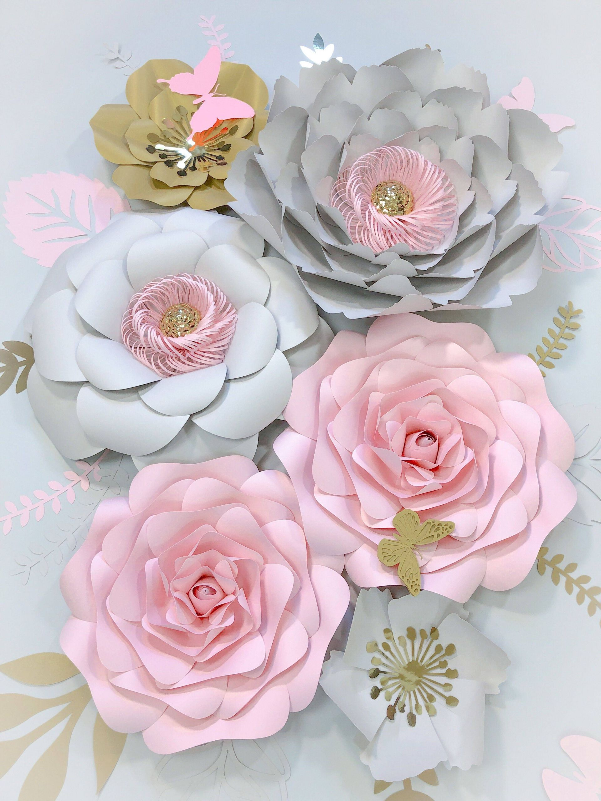 Paper Flowers Decorations Wedding Luxury Paper Flowers Wall Decor Blush Grey Nursery Girl 3d