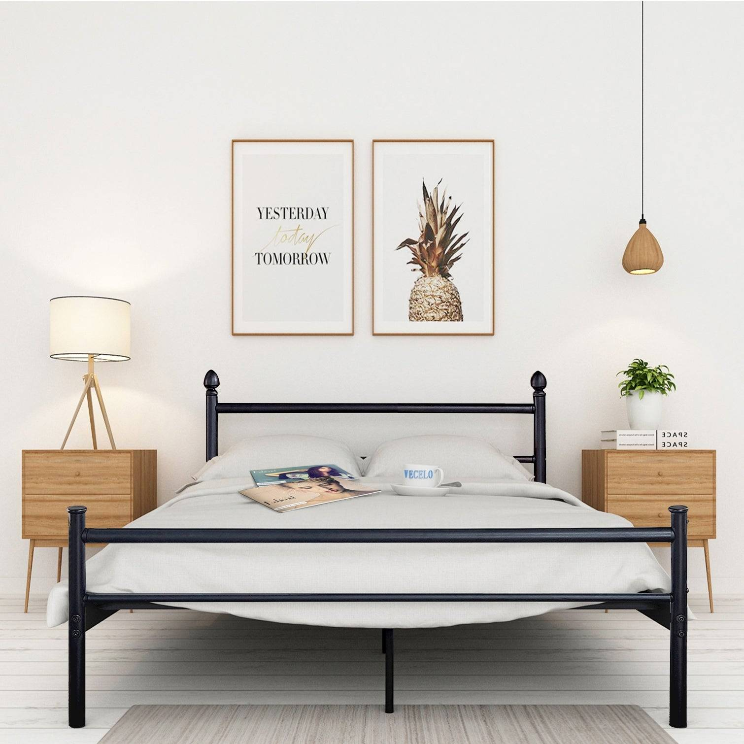 VECELO Platform Bed Frame Queen Full Twin Size Metal Beds Box Spring Replacement with Headboard and Footboard