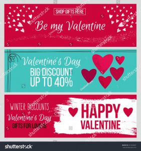 Romantic Valentine Day Cards Beautiful Set Od Modern Flat Valentines Day Stock Vector Royalty Free
