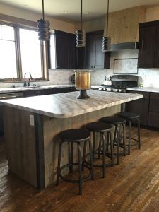 Small Kitchen island Luxury Kitchen island Wrapped In Ghost Wood