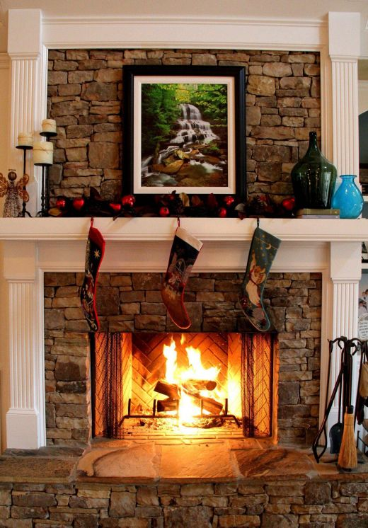 Stacked Stone Fireplace New Love the Wood Mixed with the Fireplace Adn the Slate Hearth