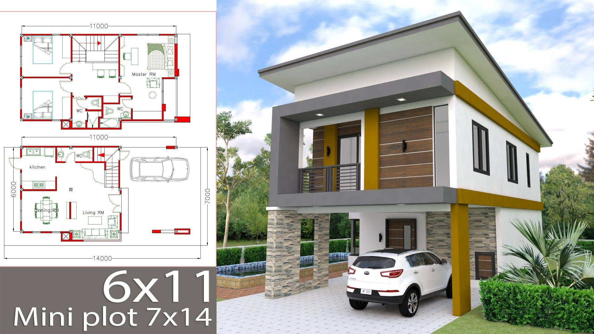Zen Home Design Elegant Small Home Design Plan 6x11m with 3 Bedrooms