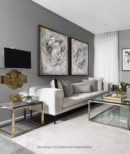 Zen Living Room Beautiful Circle Of Infinity Grey and Gold Abstract Painting